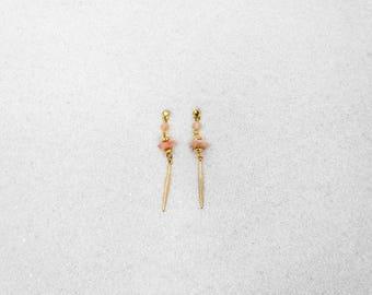 Hypoallergenic Silicone Rose Quartz Drop Earrings