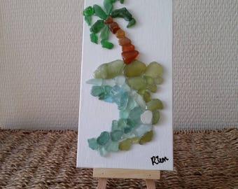 "painting ""beach"" made of glass Polish on tripod"