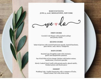 Wedding Menu Card Template, We Do, Printable Dinner Menu, Heart Menu, Editable Menu Template, Instant Download, Digital File  #030-202WM