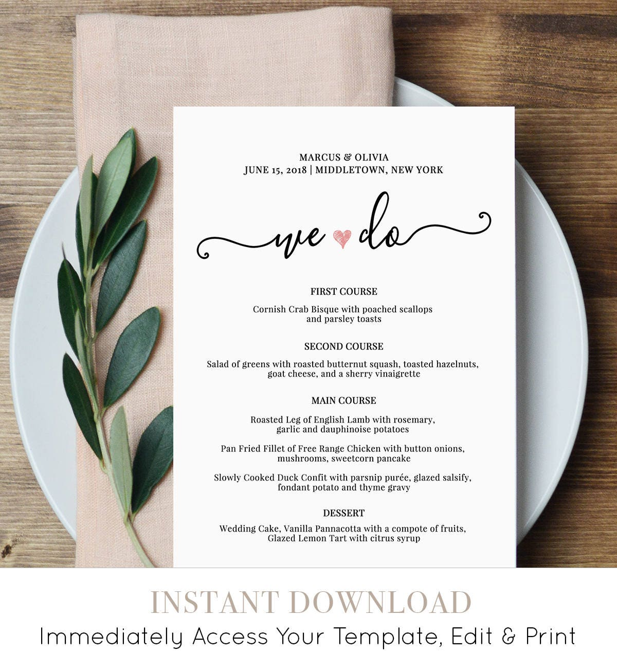 wedding menu card template we do printable dinner menu heart