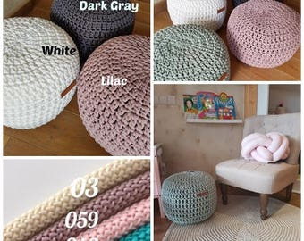 Lilac Pouf -Footstool-Nursery Decor-Floor Cushion-Kids Furniture-Bean Bag-Crochet Pouf-Pouffe-Kids Pouf-Nursery Pouf