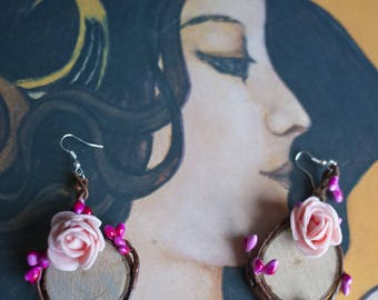 Fuchsia and pink elven earrings