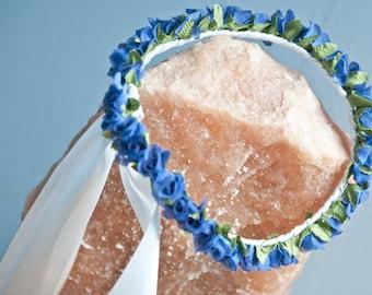 Satin ribbon fabric flower Crown