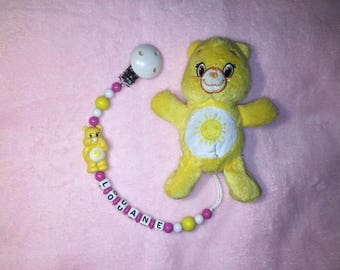 Bears yellow set attached pacifier/dummy + plush