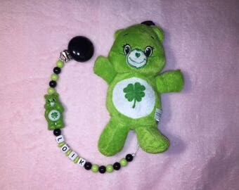 Green bears set attached pacifier/dummy + plush