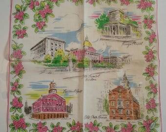 "Vintage Burmel Original Print Iconic Buildings ""Boston"" Mid-Century Modern scene Ladies Hankie Never used with Original Sticker"
