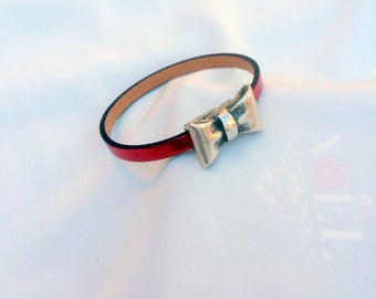1 mirror Red 5 mm leather bracelet