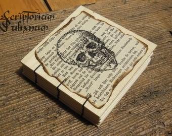 Pocket-size Human skull notebook handdrawn wooden cover, gothic grimoire herbarium occult sketchbook journal book of shadows anatomy Ostara
