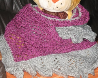 GREY scarf / pink border with shells