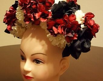 Day of the dead headpiece, flower crown, dia de los muertos, samba costume, flower headband
