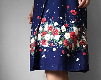 Vintage, 1970's, Button-Up, Button-Down, Navy, Red, White, Floral, Midi-Length, Summer, Dress