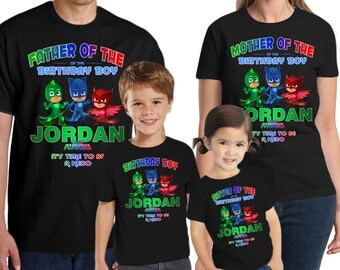 Personalized PJ Masks Shirt Add Name & AGE Gift Favors Personalized PJ Masks Birthday Shirt