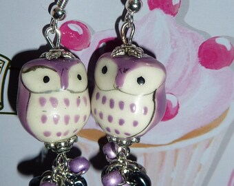 Sterling silver 925 with a mauve violet owl made with ceramic and beads