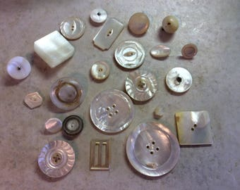 Antique and Vintage Buttons, Mother of Pearl Large Lot