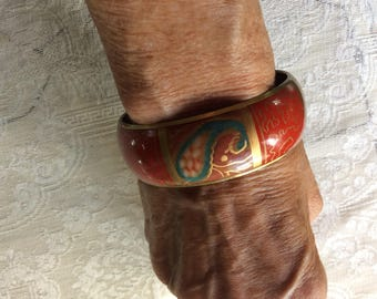 Vintage Bracelet, Cloisonné over Brass Chunky Pasiley Design, Red Gold and Turquoise