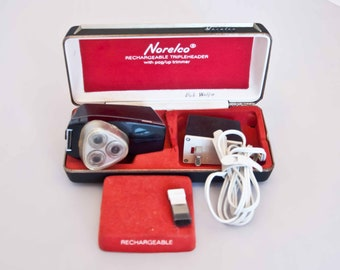 Vintage Norelco Rechargeable Tripleheader Electric Razor with Pop Up Trimmer