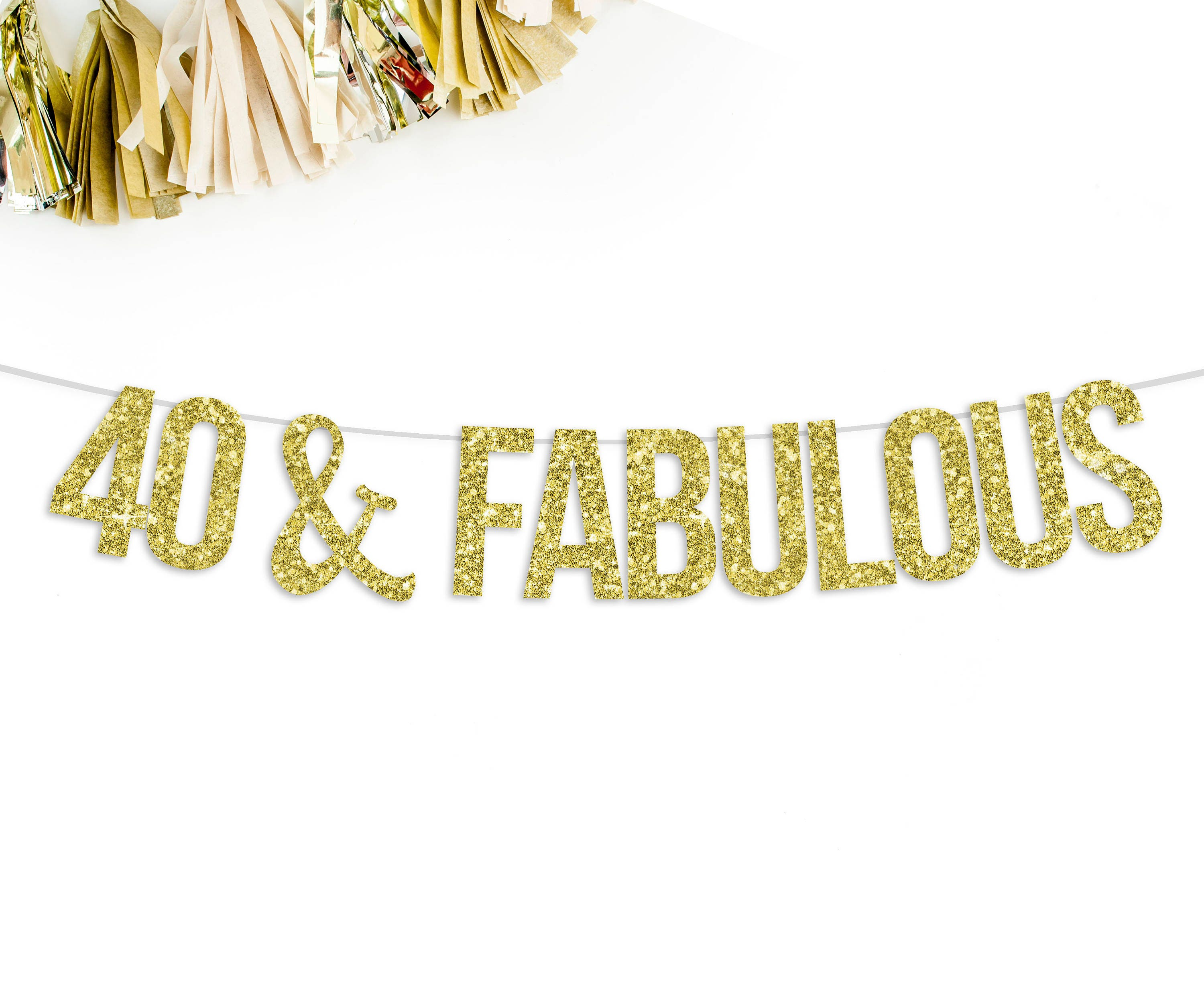 40 Amp Fabulous Glitter Banner 40th Birthday Party Decorations