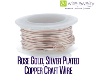Rose Gold, Silver Plated Copper Craft Wire, Round, Various Gauges and Lengths
