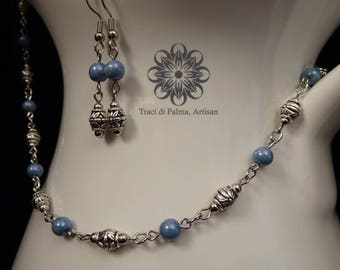 "Czech Glass Necklace and Earrings ""Calm Seas"""
