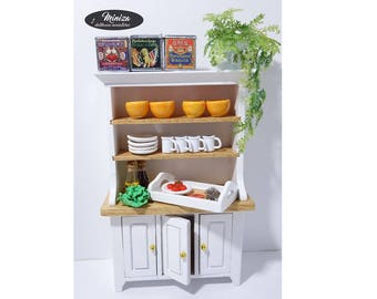 Miniature white kitchen cupboard, 1:12 scale