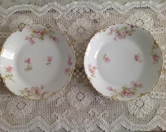 Set of 2 Antique Haviland Limoges France Pink Floral Gold Scalloped Rim Bowls