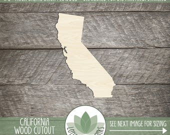 California State Wood Cut Shape Shape, Unfinished Wood California Laser Cut Shape, DIY Craft Supply, Many Size Options