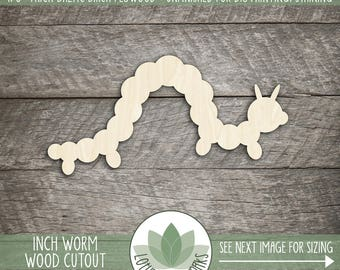 Wood Worm Laser Cut Shape, Inch Worm, Wooden Bookworm, DIY Crafting Supply, Many Sizes And Shapes, Laser Cut Wood Worm