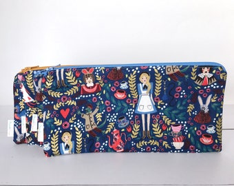 Alice In Wonderland Zipper Pouch, Make-up bag, clutch, Pencil Pouch, Cosmetics case for the organized purse, diaper bag, backpack, Woman