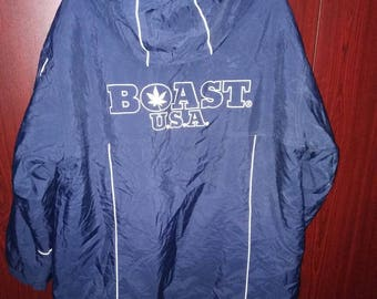 Vintage 90s Boast USA Pullover Hooded Jacket,Boast Hooded Jacket,Boast Color Block,Boast Big Logo Hip Hop street wear urban