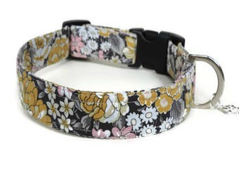 Floral Fabric Dog Collar, Liberty Amelia Fabric Dog Collar, Collar, Collars For Tiny Dogs, Dog Collars UK, Designer Dog Collar,