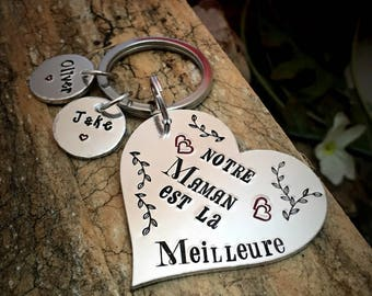 Hand Stamped Maman Meilleure, French Personalised Metal Keyring