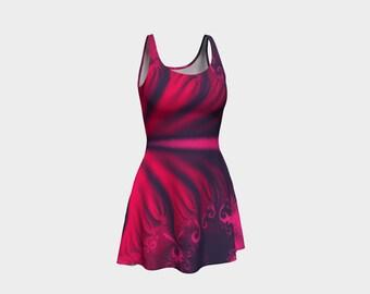 Flare dress, pink, red and black dress, flare dress in red, pink and black, womens dress, teen dress, festival dress, fractal dress,