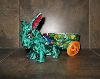 Vintage Donkey Pulling Cart Figurine Made in Italy