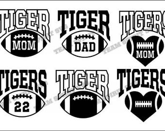 Tigers Football with Numbers Download Files - SVG, DXF, EPS, studio3, Vinyl Cut Files, Digital Cut Files -Use with Cricut and Silhouette