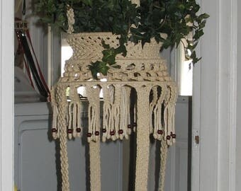 "Large Vintage Braided Macrame Double Plant Hanger with Wooden Beads 68"" Long"