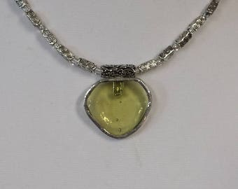 Pale yellow stained glass pendant necklace