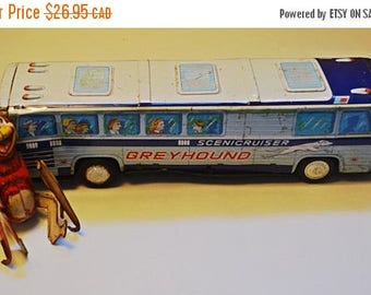 On Sale Tin Toys, Tin Bus, Scenic Cruiser, Tin Litho, Japan Toy, Tin Monkey, Greyhound, Litho Windup Toy, Wind Up Monkey, Friction Bus, Tin