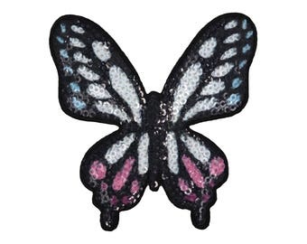 Butterfly in Sequins Iron On Applique, Butterfly Iron On Patch, Butterfly Applique, Kids Patch, Embroidered Patch
