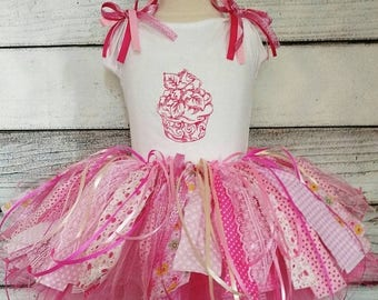 On sale this week only scrap tutu,rag tutu,personalized first birthday  fabric scrap rag tutu set,cupcake tutu skirt,birthday fabric tutu,fa