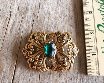 Vintage 1940s Sash Pin with Large Green Center Stone |  Gold and Green 1940s Brooch