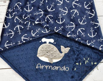 Personalized Anchor Whale Minky Blanket-Personalized Anchor Baby Blanket-Whale boy Blanket-Anchor baby Girl Boy Blanket-Nautical blanket