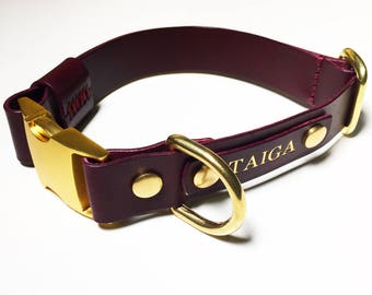 Leather Dog Collar Personalized Burgundy Quick Release Name Custom Monogram Avaloncraft Henbury Dog Collar