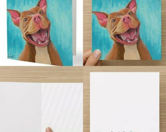 Stationery, Illustration, Greeting card, Dog, Pitbull, Wish card, Holiday, Celebration, Party, Birthday, Anniversary, Article C006-Luky