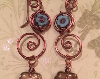 Blue Floral Copper Swirl Earrings