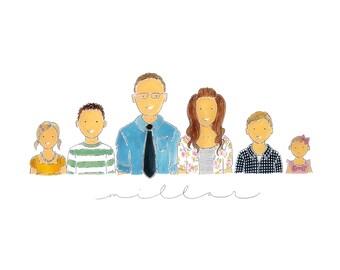 Family Modern Watercolor Portrait Illustration