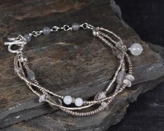 Hill Tribes Silver Bracelet, Multi Strand Bracelet, Labradorite Bracelet, Silver Bracelet, Delicate Bracelet, Sundance Style Bracelet
