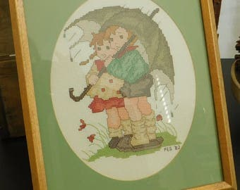 Vintage Completed Cross Stitch, Umbrella Children, In the Rain, Brother Sister, Nursery Decor, Hand Stitched, Framed Under Glass, Hummel
