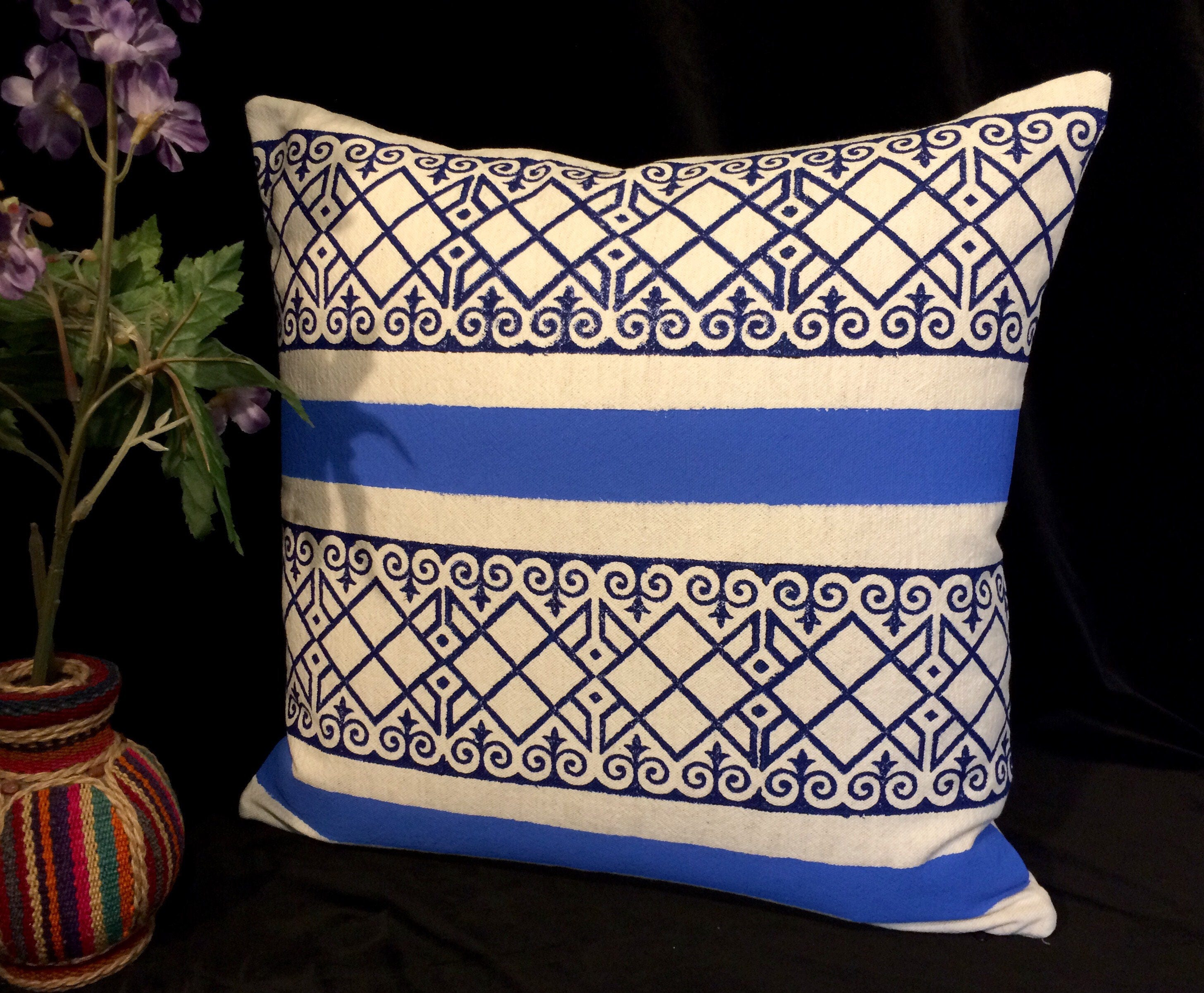 Decorative blue stripes pillow quality handprinted Cushion