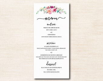 Blooming Menu - Watercolour Florals - Personalised Digital Download - Printable