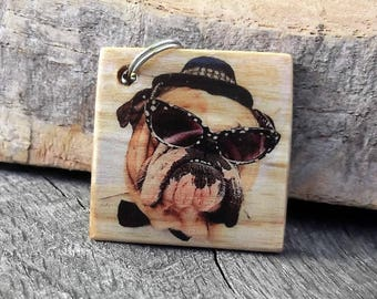 Personalized Keyring in wood, personalised, personable, personalised photo on wood, wood keychain,  Porte clé en bois personnisable